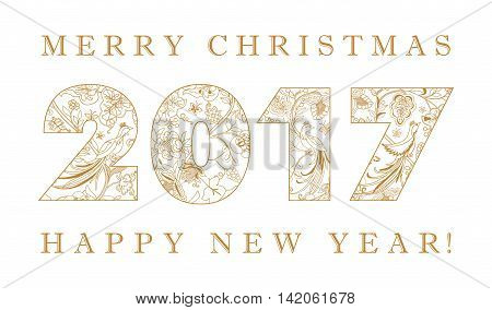 2017 new year golden vintage numbers. Merry Christmas and happy new year ethhic congratulation card.
