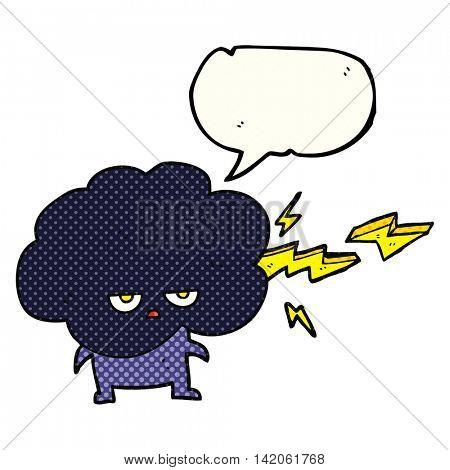 freehand drawn comic book speech bubble cartoon raincloud character shooting lightning