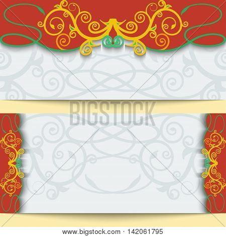 Set of greeting cards or invitations in east style. Bright victorian floral decor. Template frame for the banner or background. Place for your text. Vector illustration.