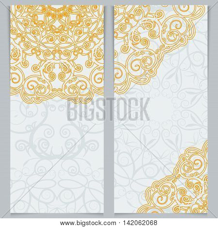 Greeting cards or invitations in east style. Bright victorian floral decor. Template frame for the banner or background. Place for your text. Vector illustration.