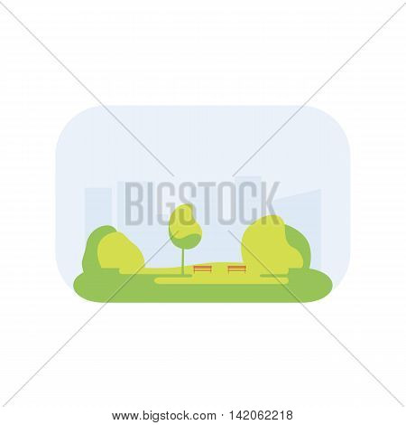 City park icon with a lawn, trees, lush grass with a wooden bench on the background of the city. Vector illustration flat design. Urban landscape