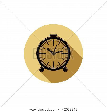 Classic vector three-dimensional alarm-clock isolated on white.