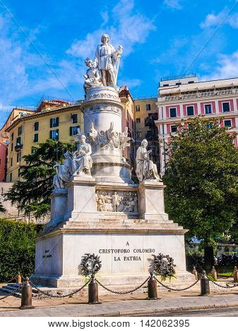 Columbus Monument In Genoa Hdr