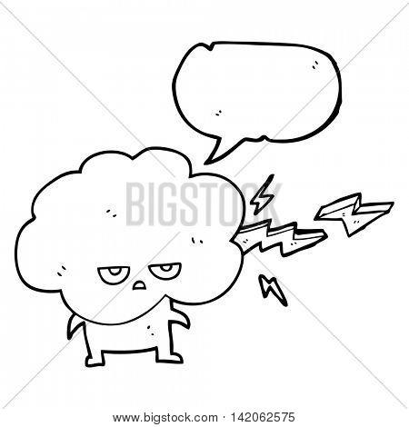 freehand drawn speech bubble cartoon raincloud character shooting lightning