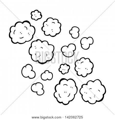 freehand drawn black and white cartoon smoke clouds
