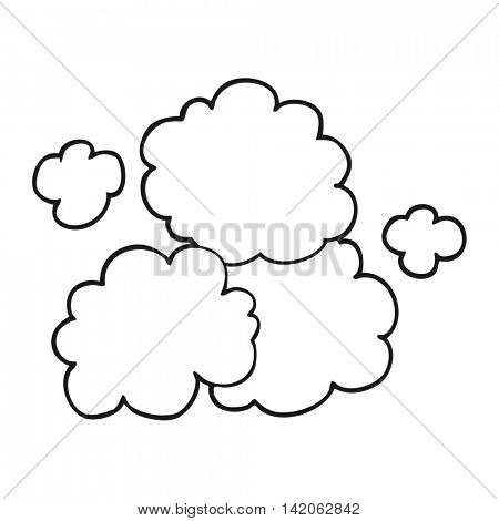 freehand drawn black and white cartoon smoke cloud