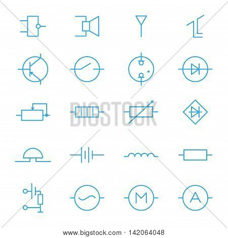 Electronic components blue line icons set of 20