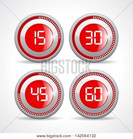 Timers set 15 30 45 60 minutes illustration isolated on white background