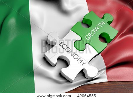 Italy economy and financial market growth concept, 3D rendering