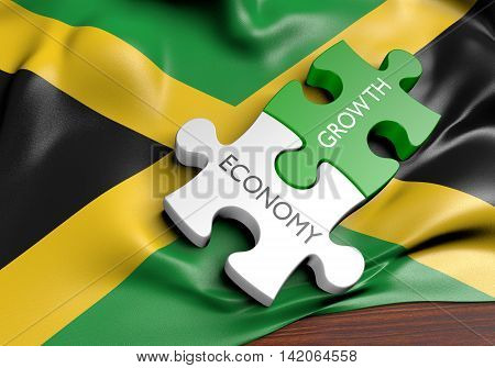 Jamaica economy and financial market growth concept, 3D rendering