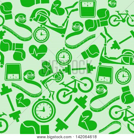 Seamless pattern fitness. Monochrome green background. Vector illustration. EPS8.