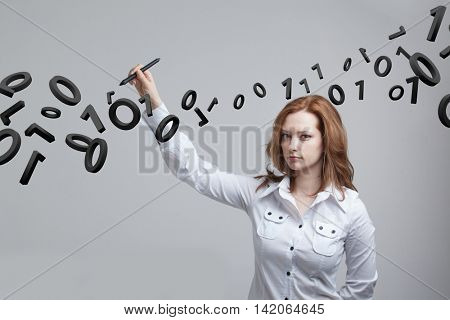 Woman working with binary code, concept of digital technology.