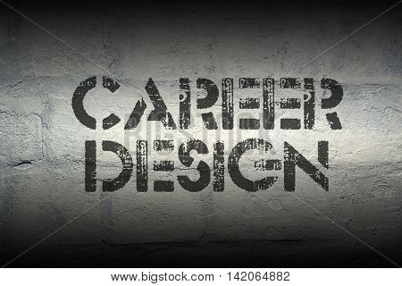 career design stencil print on the grunge white brick wall