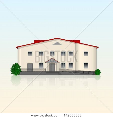 Realistic separately standing office building with beige plastered front and reflection. Bright contemporary facade with ramp and bushes. Vector illustration.
