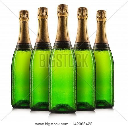 Set of champagne bottles or sparkling wine isolated on a white background.