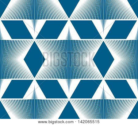 Continuous vector pattern with graphic lines decorative abstract background with geometric figures.