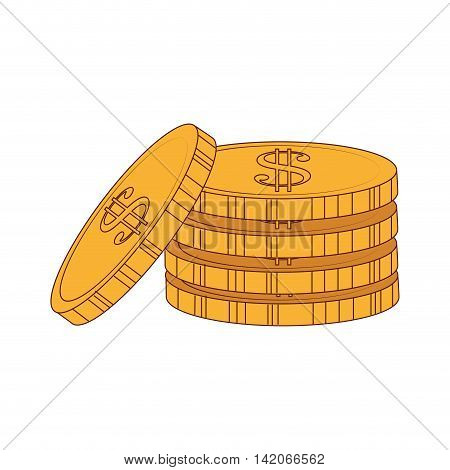 coins money gold  business economy earn stack commerce vector graphic isolated and flat illustration