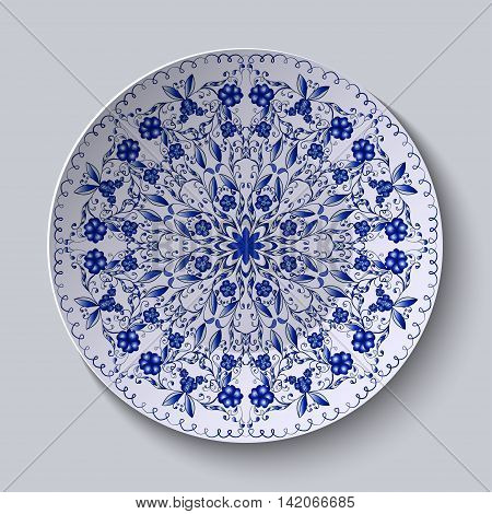 Blue floral circular pattern. Decorative ceramic plate. Vector illustration.