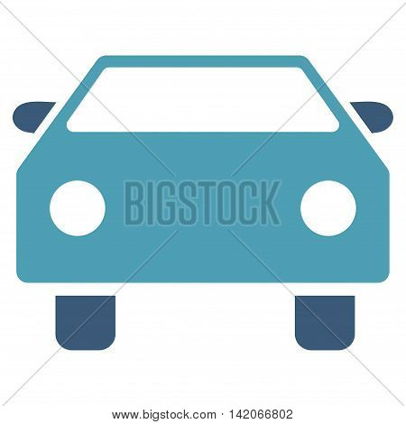 Car vector icon. Car icon symbol. Car icon image. Car icon picture. Car pictogram. Flat cyan and blue car icon. Isolated car icon graphic. Car icon illustration.