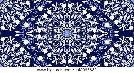 Seamless pattern of circular ornaments. Dark blue background in the style of Chinese painting on porcelain. Vector illustration.