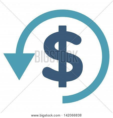 Chargeback vector icon. Chargeback icon symbol. Chargeback icon image. Chargeback icon picture. Chargeback pictogram. Flat cyan and blue chargeback icon. Isolated chargeback icon graphic.