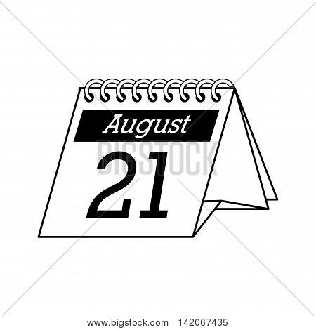 calendar desk august 21 month monthly number day office vector graphic isolated and flat illustration