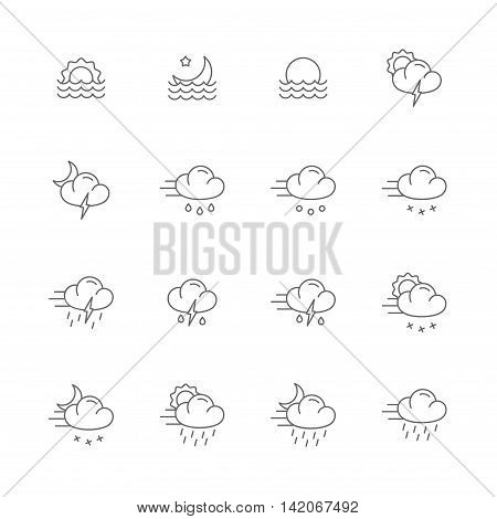 weather gray line icons meteo icons line set of 16