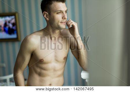 Half Naked Young Man