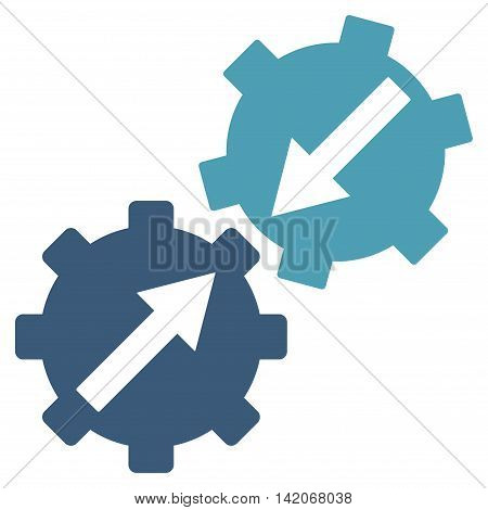Gear Integration vector icon. Gear Integration icon symbol. Gear Integration icon image. Gear Integration icon picture. Gear Integration pictogram. Flat cyan and blue gear integration icon.