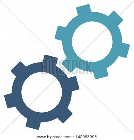 Gears vector icon. Gears icon symbol. Gears icon image. Gears icon picture. Gears pictogram. Flat cyan and blue gears icon. Isolated gears icon graphic. Gears icon illustration.