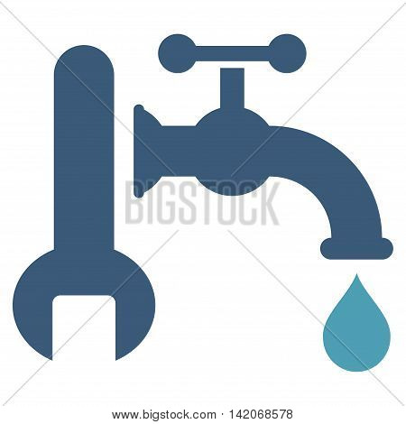Plumbing vector icon. Plumbing icon symbol. Plumbing icon image. Plumbing icon picture. Plumbing pictogram. Flat cyan and blue plumbing icon. Isolated plumbing icon graphic.