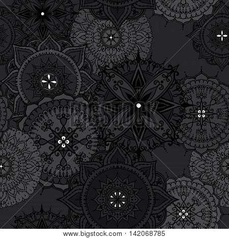 Seamless pattern with circular floral ornaments. Floral Mandala for the greeting cards invitation template frame design for business style cards or else. Vector illustration.