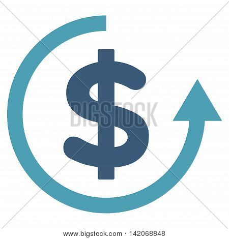 Refund vector icon. Refund icon symbol. Refund icon image. Refund icon picture. Refund pictogram. Flat cyan and blue refund icon. Isolated refund icon graphic. Refund icon illustration.