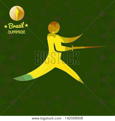 Brazil summer sport card with an yellow abstract fencer. Digital vector image