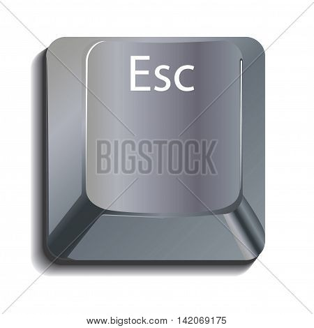 Metallic Escape Key with shadow layered on a white background
