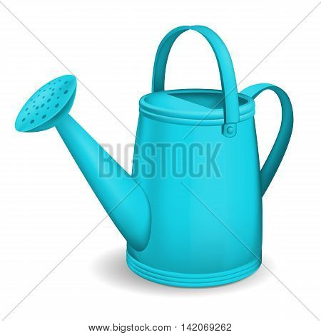 Turquoise watering can. Isolated on white background. Vector.