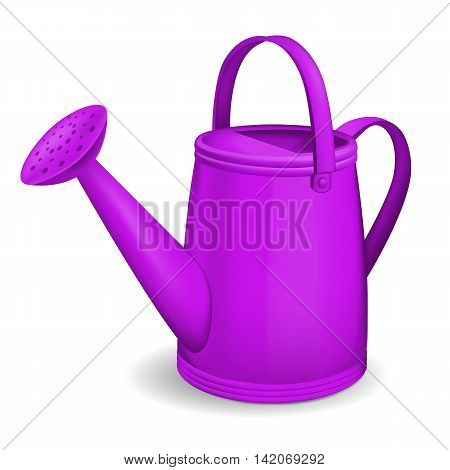 Violet watering can on white background. Vector illustration.