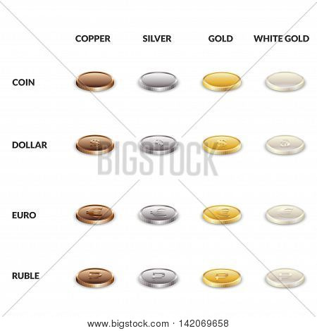 Set icons of coins from different metals. Dollar the euro and the ruble of gold silver copper and white gold. Vector illustration.