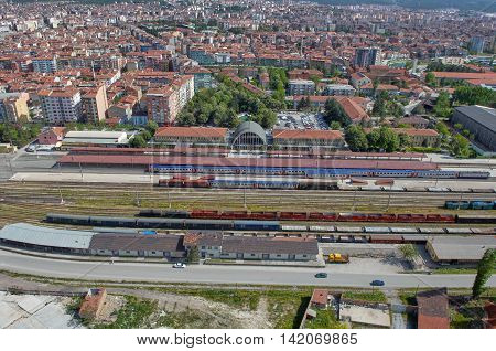 Old Train Station Aerial Photo in Eskişehir