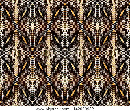Vector bright stripy endless overlay pattern art continuous geometric background with graphic lines.
