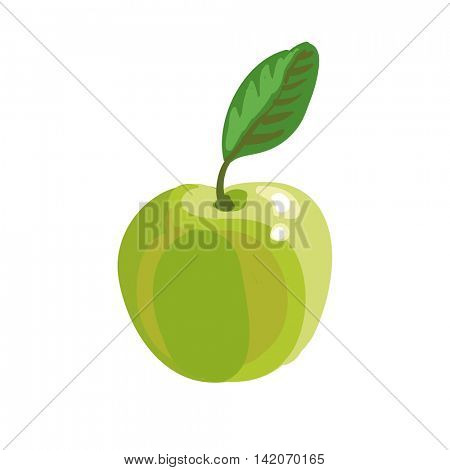 Vector illustration of green apple. Isolated on white.