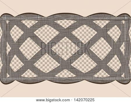 Seamless lace dark weaves ribbon. Vector illustration.