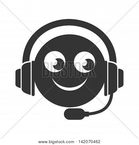 headset smiling face hapiness person call operator reception assistant support communication service vector graphic isolated and flat illustration