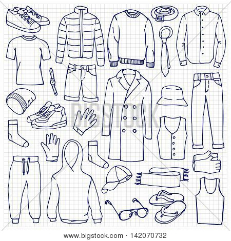 Doodle Set With Man Clothes