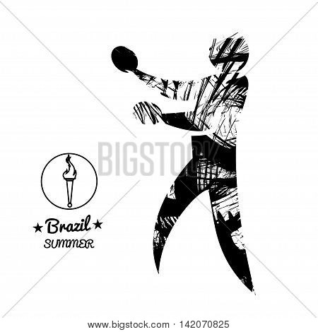 Brazil summer sport card with an abstract table tennis player in black outlines. Digital vector image