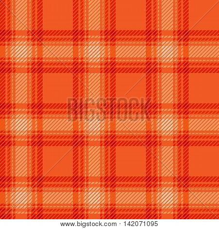Seamless orange abstract fabric tartan. Vector illustration.