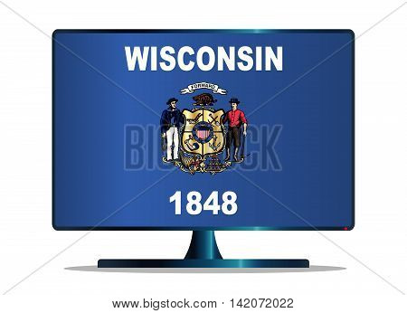 A TV or computer screen with the Wisconsin state flag