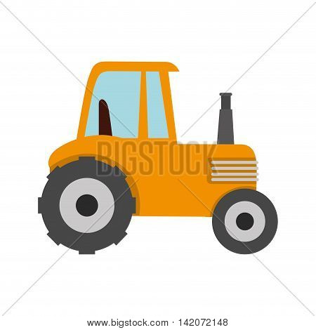 tractor farm agriculture wheel field equipment truck work cultivate vector graphic isolated and flat illustration