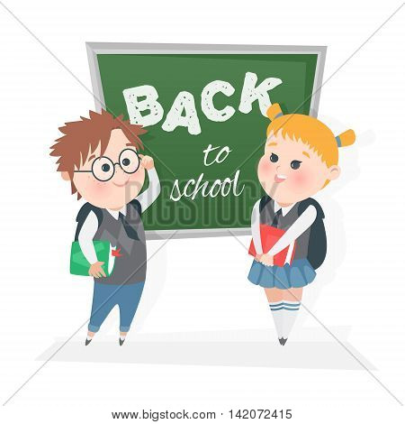 The schoolchild at the blackboard. Vector illustration. Children in class at the blackboard.