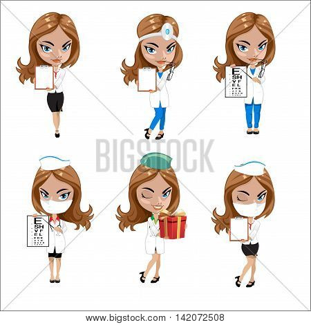 Doctors set of girls in various poses, woman doctor, nurse, health worker with different objects, a set of nursing women